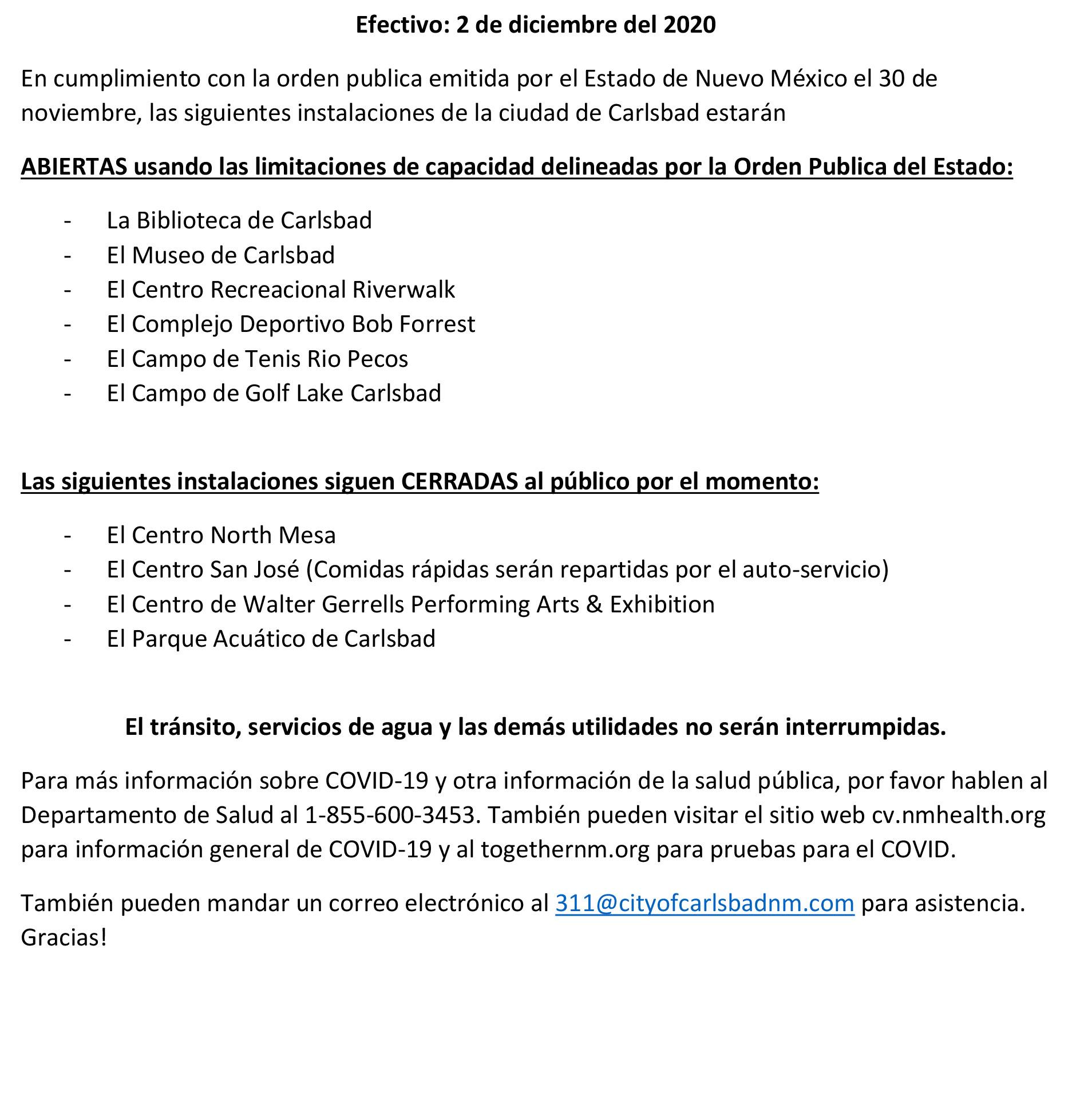 Covid open/ Closed 12-2 Español
