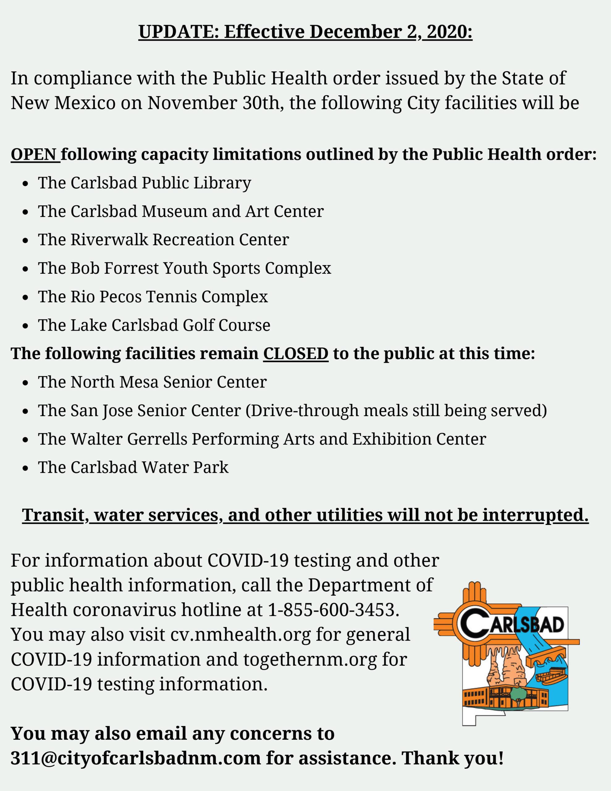 Covid Open/ Closed 12-2