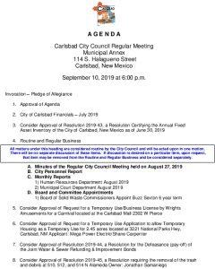 Icon of 09-10-19 City Council Agenda