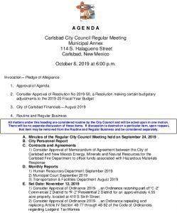 Icon of 10-08-19 City Council Agenda