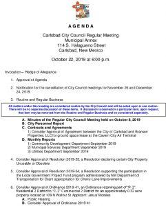 Icon of 10-22-19 City Council Agenda