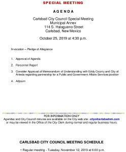 Icon of 10-25-19 CC Special Agenda Packet