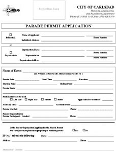 Icon of APPLICATION FOR PARADE PERMIT - 2020 Fillable