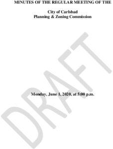 Icon of 06-01-20 Draft P & Z Minutes
