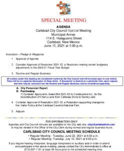 Icon of 06-15-2021 Special Council Agenda Packet